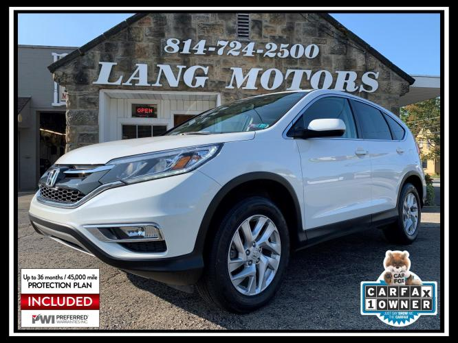 2015 White /Beige Honda CR-V EX AWD (5J6RM4H5XFL) with an 2.4L L4 DOHC 16V engine, Continuously Variable Transmission transmission, located at 821 Market Street, Meadville, PA, 16335, (814) 724-2500, 41.641064, -80.152435 - Photo #0